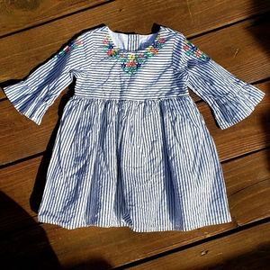 Baby Gap Dress Pink Stripe Embroidered Flowers 18m